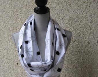 Fabric scarf, Infinity scarf, tube scarf, eternity scarf, loop scarf, long scarf, spider scarf, Halloween scarf