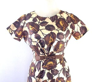 Brown Floral 1950s 1960s Wiggle Dress