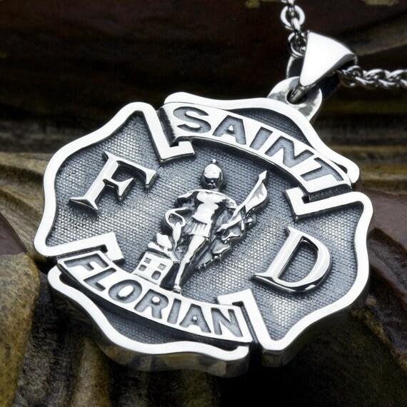 Large maltese cross firefighter saint florian sterling silver like this item aloadofball Choice Image