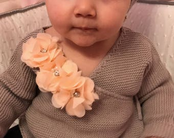 Beige Knitted Baby Girl  Wrap Sweater Infant Baby Girl Sweater