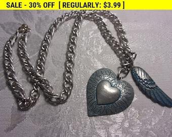 Vintage wing heart pendant necklace