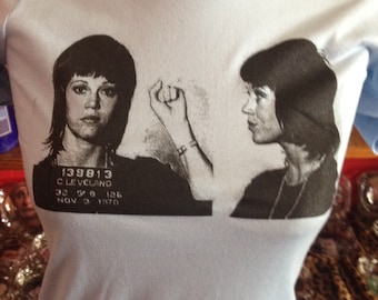 JANE FONDA 1970 Mugshot Screen Printed T Shirt Barbarella