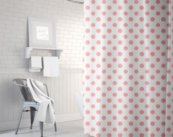 Pink Polka Dot Shower Curtain, Ikat, Girls Bath Curtain, Shower Curtain for Girls, Pink Decor, Girls Bathroom, Standard or Extra Long