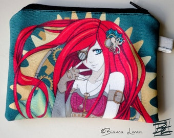 Steampunk Ariel - little mermaid anime artwork - Zippered Pouch - Coin Purse Wallet - Bianca Loran Art