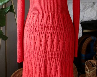 Vintage Red Knit Long Sleeve Sheer Dress, 70s Midi