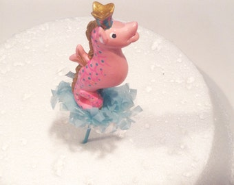 Pink Sea Horse Cake Topper/Decoration