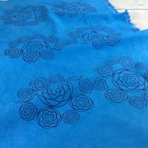 Cobalt blue fabric panel hand dyed handprinted blue cotton boho fabric bag making fabric upholstery fabric sewing making quilting crafting