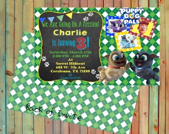 Puppy Dog Pals Inspired Personalized Birthday Invitations (Printed)