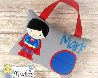 Superhero Tooth Fairy Pillow, Tooth Fairy Pillow Boy, Boy Tooth Pillow, Superhero Pillow, Personalized Pillow, Embroidered Pillow