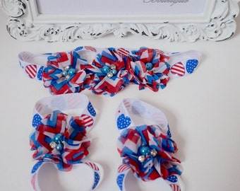 Baby Barefoot Sandals, 4th of July headband, July 4th headband, Patriotic headband, red white and blue headband