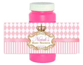 Princess Birthday /Baby shower Bubble Bottle Labels / crown Wrappers
