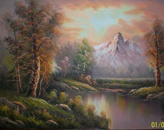 Listing 190 is an Unframed Autumn Mountain Painting signed by artist
