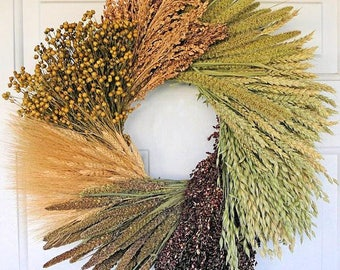 Assorted Grain Wreath | Mixed Grain Wreath | Dried Wreath | Home Decor