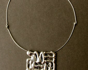 "Sterling silver ""scribble""  necklace, silver necklace, sterling pendant, square pendant, modern pendant, handmade jewelry, women's jewelry"