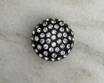 Vintage Button, Black Plastic, Round, Dome, Rhinestones, Shank, 1960's, Supplies, Sewing