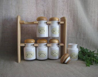 Vintage Spice Rack with 6 JARS Minimalist Wood Spice Rack w/ Stoneware Jars  RETRO Vintage Spice Rack with Natural Wood and White Jars