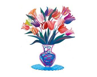 Tulip Flowers, Metal Art, Metal Flower, Vase Sculpture, Home Decor, Table Decor, Table Vase Centerpiece, Tulips Flower Vase, Flowers, Vases
