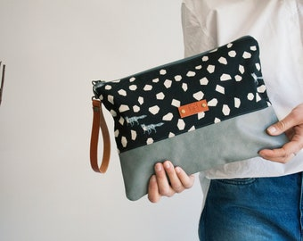 Large clutch, Black and White Clutch, Clutch with strap, Personalized gift, Wristlet, Everyday clutch