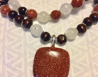 Goldstone and Moonstone Beaded Necklace