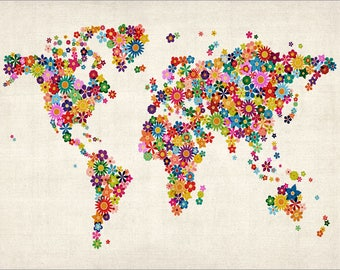Flowers World Map, A2 art print poster, SALE 40% off RRP, only 1 available (x171)