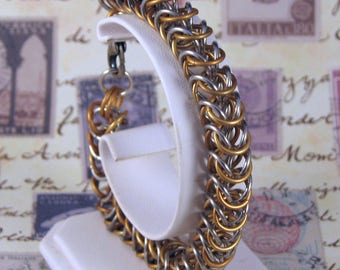 Gold and Silver Aluminum Boxlink Chainmail Bracelet, Handwoven Chainmail Bracelet, Chainmail Jewelry, Gold and Silver Chainmail, Unisex