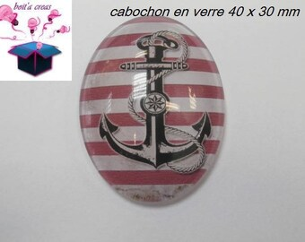 1 cabochon glass 40x30mm sea theme
