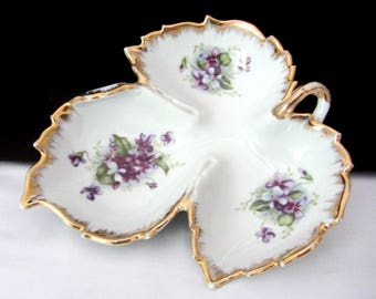 Kelvin Fine China Floral Nut Dish Or Candy Dish With Gold Trim