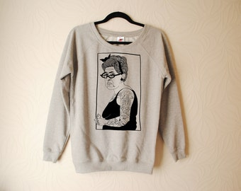 UNISEX Hand Printed Tattoo Lady Sweater by Emilythepemily