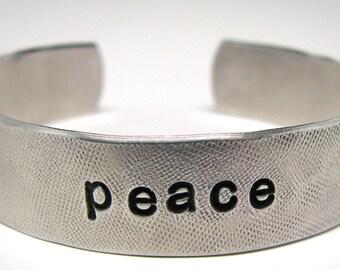 Hand Stamped Bracelet, Yoga Jewelry, Personalized Jewelry, Peace