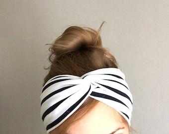 Striped Turban Women's Headband head wrap turband headwrap summer head band yoga trendy beach hair cover black white cruise nautical