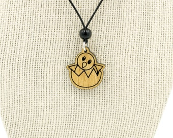 Hatching Chick Emoji Wooden Charm Necklace -  Wooden Baby Chick Emoji Charm - Hatching Baby Chick Wooden Necklace