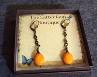 Tangerine Orange Faceted Crystal Opal Dangle Earrings