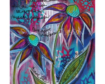 wildflowers, coneflowers, bees, plant wild flowers, print, mixed media, painting, save the bees