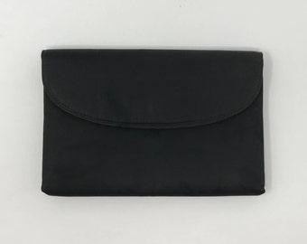 SALE Black Satin Evening Clutch Purse, Harry Levine Made in USA, Vintage Formal Accessories