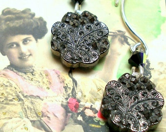 BUTTERFLY Antique BUTTON earrings, Victorian black glass on sterling silver. One-of-a-kind jewellery.
