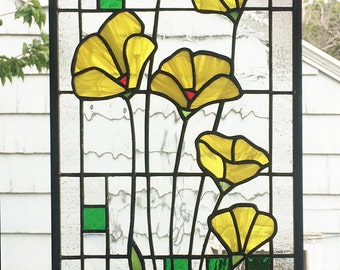 "Stained Glass Window Panel--Yellow Poppies Geometric --One Panel 10"" x  23 5/16"""