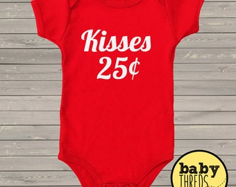 Valentine's Day Onesie, Kisses - Vday Onesie, , First Valentine's baby onesie, custom onesie, baby girl outfit, baby boy outfit, red onesie