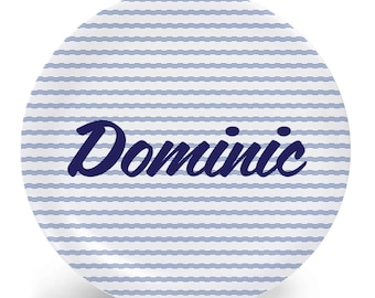 Personalized Plate for Kids - Blue and White Pinstripes - Plate Bowl Placemat Mug - Tableware Set - Personalized Melamine Plate (Plastic)