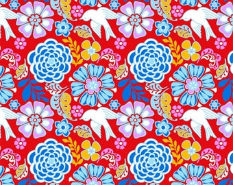 Folk Floral in Red, Bird, Mexican Folklore Collection by David Textiles - 100% Cotton - HALF YARD