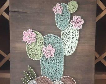 Cactus string art • nursery decor • rustic wall art • rustic succulent cacti wall decor • fancy cactus