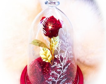 Limited Beauty and the Beast Rose Luxury Glass Dome
