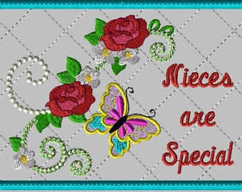 """Machine Embroidery Design-ITH-Mug Rug-""""Nieces are Special"""" with Butterfly and Roses includes 2 sizes"""