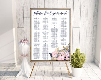 Wedding Seating Chart | Printable Seating Chart | Digital Seating Chart | Purple Watercolor Seating Chart | Digital File Only