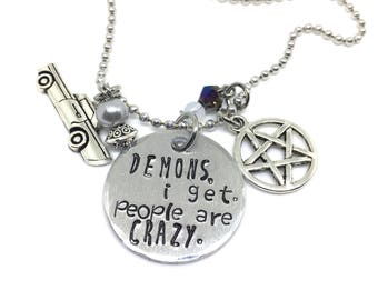 Supernatural Necklace, Supernatural Demons I Get Stamped Tag, Dean Winchester Inspired, Fandom Jewelry, Geekery,SPN Jewelry, SPNFamily
