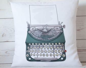 "Retro Green typewriter - 16"" Cushion Pillow Cover Retro Shabby Vintage Chic - UK Handmade"
