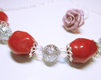 JEWELRY NECKLACE Cherry Red Bead Necklace Silver Lacey Spacer Beads Red Jewelry Red Gift For Her