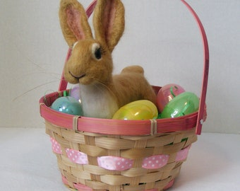 Felted Bunny Easter Bunny  Soft sculpture Rabbit Felted Animal Bunny Plush Art Doll