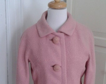 50s Pink Jacket, 60s Blazer, Huge Crocheted Buttons, Bonwit Teller, 3/4 Sleeves, Size Medium