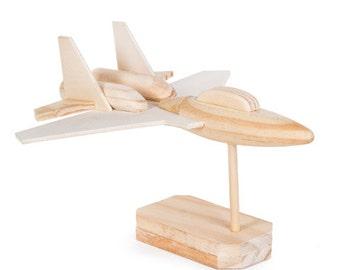 Fighter jet wood model airplane kit