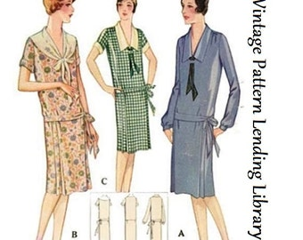 1928 Ladies Morning Frock With Front Ties - Reproduction Sewing Pattern #Z5302